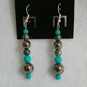 NWT Turquoise and gray beaded earrings